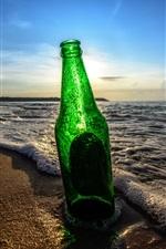 Preview iPhone wallpaper Bottle, beach, waves, sunset