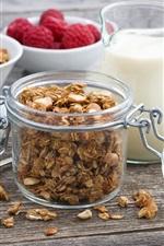 Preview iPhone wallpaper Breakfast, raspberry, granola, blueberries, milk