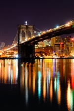 Preview iPhone wallpaper Brooklyn bridge, New York, Hudson river, USA, night, city, illumination