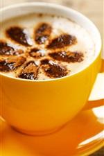 Bolo, café, feijão, copo amarelo