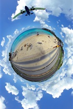 Preview iPhone wallpaper Caribbean, sea, beach, road, planet, clouds, sky, creative picture