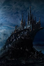 Preview iPhone wallpaper Castle, night, moon, clouds, art picture