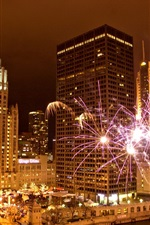 Preview iPhone wallpaper Chicago, Illinois, USA, city, night, fireworks, skyscrapers