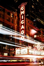 Preview iPhone wallpaper Chicago, Illinois, USA, city, night, street, lights, traffic
