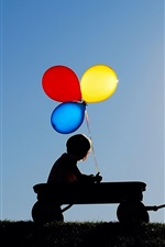 Preview iPhone wallpaper Children, colorful balloons, umbrella, silhouettes