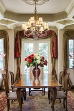 Classic style dining room, chairs, furniture, flowers