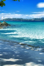Preview iPhone wallpaper Coast, beach, sea, trees, mountains, blue sky