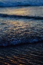 Preview iPhone wallpaper Coast, beach, waves, dusk