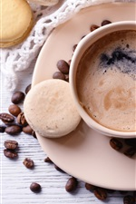 Coffee beans, cakes, cup