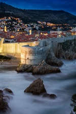 Preview iPhone wallpaper Croatia, Dubrovnik, fortress, night, rocks, sea, city, houses, lights