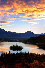 Preview iPhone wallpaper Croatia, mountains, clouds, dawn, sunrise, Mljet island, castle, lake