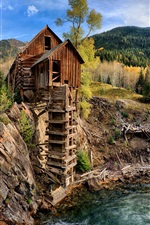 Preview iPhone wallpaper Crystal Mill, waterfall, stream, mountains, trees, Colorado, USA