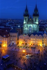 Preview iPhone wallpaper Czech Republic, Old Town Square, night, city, street, houses, lights