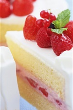 Preview iPhone wallpaper Delicious cake, dessert, sweet food, cream, strawberry