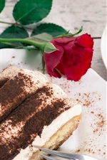 Preview iPhone wallpaper Dessert, tiramisu, cake, coffee, rose