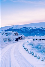 Preview iPhone wallpaper Dover, Scandinavian Mountains, winter, snow, road, village, Norway