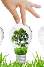 Preview iPhone wallpaper Environmental protection, ecology, light bulb, grass, tree, creative design