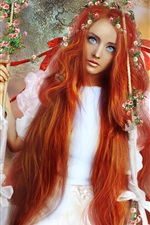 Preview iPhone wallpaper Fantasy red hair girl, kingfisher, butterfly, swing