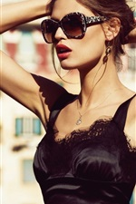Preview iPhone wallpaper Fashion girl, black skirt, sunglasses