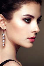 Preview iPhone wallpaper Fashion young beautiful girl, earrings pendants
