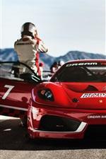 预览iphone桌布 法拉利f430梦幻赛车,红色超级跑车前视图
