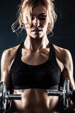 Preview iPhone wallpaper Fitness blonde girl, dumbbell, pose, black background