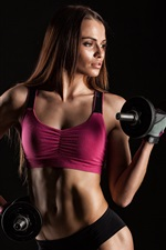 Preview iPhone wallpaper Fitness girl, female, dumbbell, sportswear, workout, black background