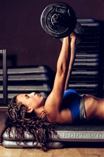 Preview iPhone wallpaper Fitness girl, pose, workout, weightlifting