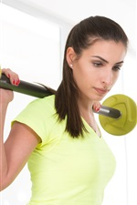 Preview iPhone wallpaper Fitness girl, yellow dress, workout, dumbbell