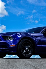 Preview iPhone wallpaper Ford Mustang blue car side view