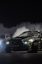 Preview iPhone wallpaper Ford Mustang race car, drift, night