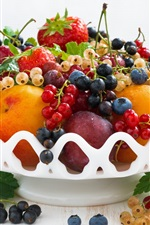 Preview iPhone wallpaper Fresh fruits, berries, peach, cherry, strawberry