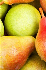 Preview iPhone wallpaper Fresh pears, sweet fruit, water drops