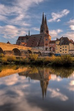 Germany, Bayern, Regensburg, cathedral, houses, river, bridge, autumn