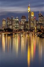 Preview iPhone wallpaper Germany, Frankfurt, night, city, river, bridge, lights, skyscrapers