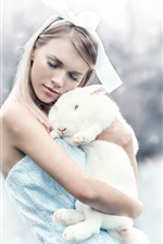 Preview iPhone wallpaper Girl and white rabbit, winter, snow