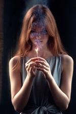 Girl last hope, match, fire, smoke