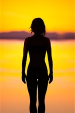 Preview iPhone wallpaper Girl silhouette, sunset