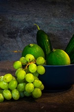 Preview iPhone wallpaper Grapes, green lemon, cucumber, fruit, vase, still life