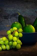 미리보기 iPhone 배경 화면 포도, 녹색 레몬, 오이, 과일, 꽃병, 정물