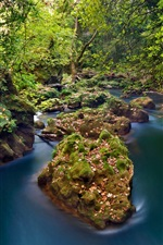 Preview iPhone wallpaper Greece, Epirus, Thyamis River, forest, stones, autumn