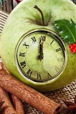 Preview iPhone wallpaper Green apple clock, cinnamon, star anise