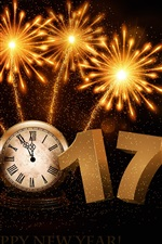 Preview iPhone wallpaper Happy New Year 2017, fireworks, clock