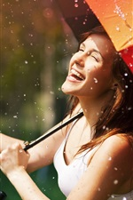 Preview iPhone wallpaper Happy girl in rain, umbrella