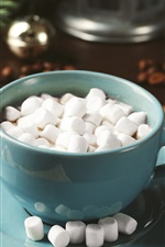 Preview iPhone wallpaper Hot chocolate, cocoa, marshmallow, cup, drinks