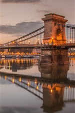 Preview iPhone wallpaper Hungary, Budapest, chain bridge, Danube, river, dusk, lights