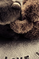 Preview iPhone wallpaper I Love You, teddy bears, romantic