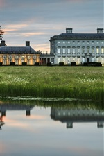 Preview iPhone wallpaper Ireland, manor, house, lake, water reflection, grass, dusk