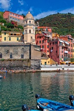 Italy, Cinque Terre, mountains, houses, bay, boats