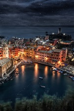 Preview iPhone wallpaper Italy, Liguria, Manarola, sea, boats, night, lights, rocks, houses